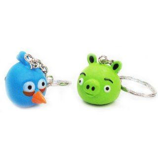 ANGRY BIRDS KEY CHAIN SET  BLUE BIRD & PORK  Toys & Games