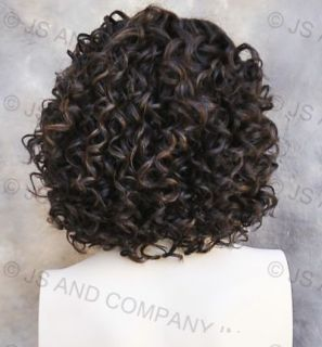 Human Hair Blend Wig Curly Dark Brown and Strawberry Blonde Mix Heat