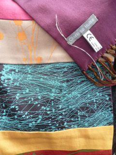 Clarissa Hulse Pure Silk Hand Printed Floral Bright Panel Scarf BN