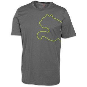 PUMA New Cat S/S T Shirt   Mens   Casual   Clothing   Grey/Green