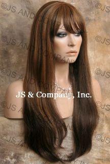 Human Hair Blend Wig Long Straight Brown Auburn Mix