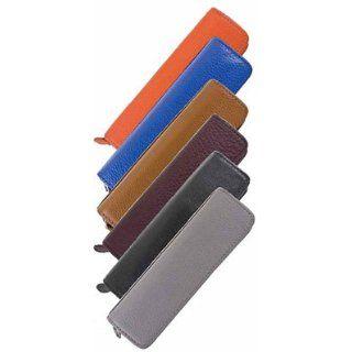 Taccia Leather Zip Single Pen Case (Gray)