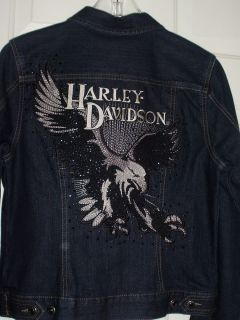 Harley Davidson Ladies Bead Embellished Denim Jacket M