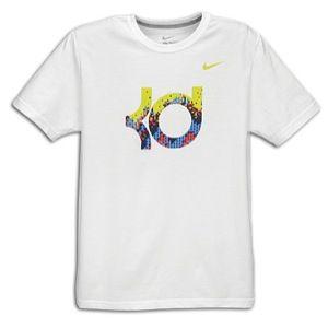 Nike KD Xmas Day Logo T Shirt   Mens   White/Challenge Red/Photo Blue
