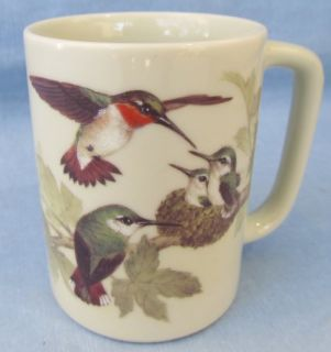 Ruby Throated Hummingbird Couple and Nest Coffee Mug Cup Otagiri Japan