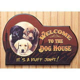 Humorous Dog House Wood Sign A Ruff Joint Wall Decor