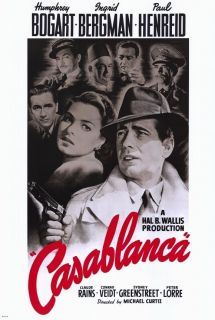 HUMPHREY BOGART AND INGRID BERGMAN IN CASABLANCA 27 x 40 MOVIE POSTER
