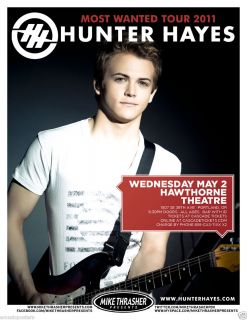 Hunter Hayes 2012 Portland Concert Tour Poster Country Music