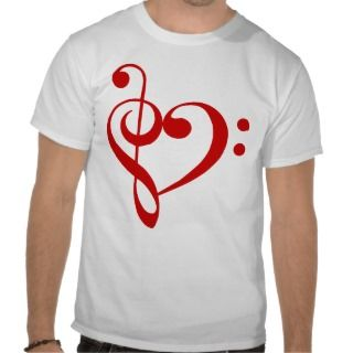 Treble and Bass Clefs Heart (red) T Shirt