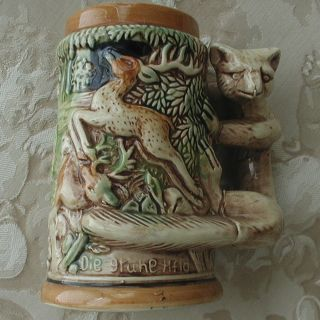 "Ceramic Beer Stein Mug Tankard ""Hunter's Joy"" Japan"