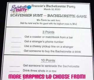 Bachelorette Party Fun Scavenger Hunt Activity Game Cards Persoanlized
