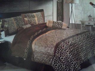 Beautiful 7pcs Leopard Print Queen Comforter