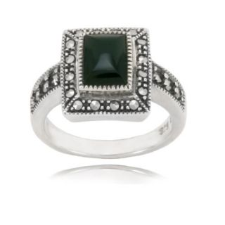 Sterling Silver Marcasite and Onyx Rectangular Ring, Size 5 Jewelry