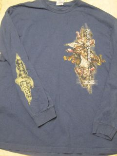 PRIMOS Mens 2XL Hunting Calls Turkey Long Sleeve Blue T Shirt 100%