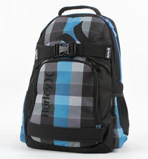 Mens Boys Blue Plaid Hurley Honor Roll Backpack Laptop SkateBoard Bag
