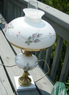 Vintage Tall Painted Rose Flower Hurricane Lamp Light