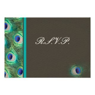 blue mocha peacock rsvp cards standard 3.5 x 5 custom invitations