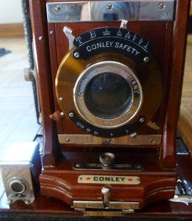 Antique 1907 Conley Safety folding bellows box camera w/ case & 4x5