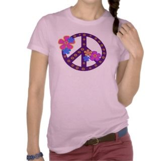 Flowers Peace Symbol Tee Shirts