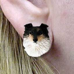 New Sheltie Tri Color Dog Head Post Earrings