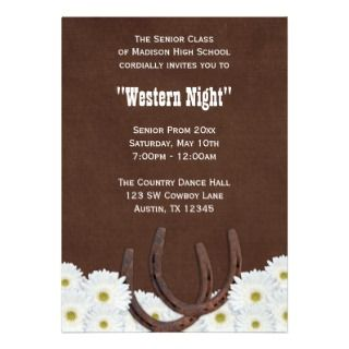 Country Western Formal Prom Party Personalized Announcements