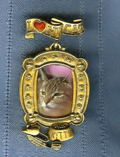 Victorian Style Kitty I LOVE MY CAT Lover Picture Frame Pin Brooch