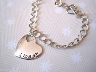 Love You Heart Charm Bracelet SP Gift Bag Valentines