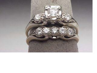 Vintage 14K White Gold Three Stone F Color .80 Ct. Diamond Engagement