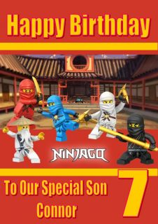 Personalised Lego Ninjago Birthday Card with Colouring Picture 2 Sizes