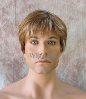 Classic Style Dark Blonde Light Brown Mix Mens Full Wig