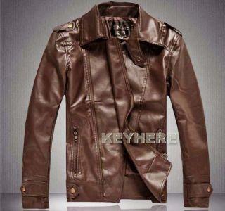 Slim PU Leather Biker Jacket Coat Zipper Brown Khaki M XXL K0E1