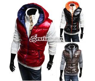 New Korean Mens Classic Fashion Style Winter Bright Down Vest Hooded