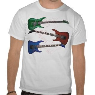Red Green Blue Guitars Dragon T shirt   Customized