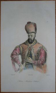 1840 Print Sultan Ibrahim Ottoman Empire 25