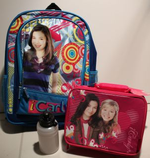 SET iCARLY BACKPACK LUNCH KIT Book Bag Girls Nickelodeon Box School