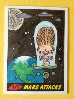 Attacks Heritage Sketch Card AP Original Art Topps 2012 Earth Bound