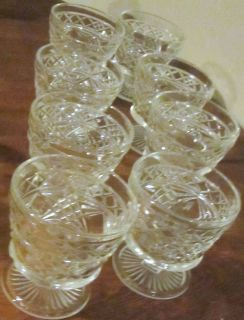 of 7 Pressed Glass Sherbert Ice Cream Dishes Cup Footed Glasses