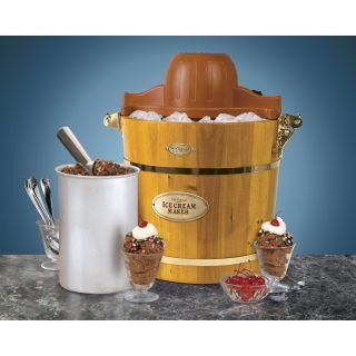 New 4 Quart Wooden Bucket Electric Ice Cream Maker Nostalgia Electrics