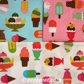 Kaufman Confections Ice Cream Treats Pink Fabric Yd