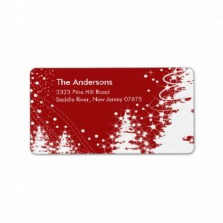 Red Winer ree Snow Scene Reurn Address Label
