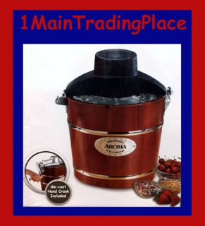 Hand Crank Electric Ice Cream Maker Solid Wood Bucket