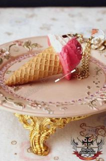 Japan Strawberry Vanilla Ice Cream Waffle Cone Necklace