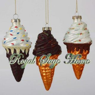 Vanilla Ice Cream Waffle Cone Sprinkles Glass Christmas Ornament