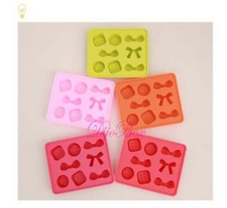 Button & Ribbon Freeze Ice Cube Chocolate Jelly Candy Silicone Mold