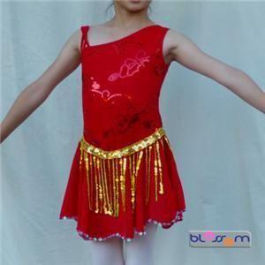 Red Ice Skating Dance Costume Dress 10 12yrs GI006R