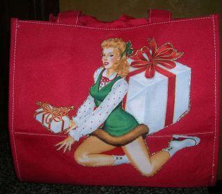 Christmas Ice Skate Hockey Red Purse Tote Bag Holiday
