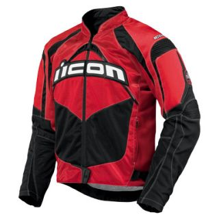 Icon Contra Red Textile Motorcycle Jacket XL x Large New Sport Fit CE