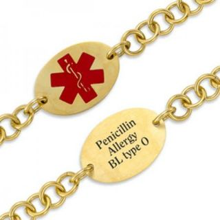 Personalized Medical ID Alert Engraved Oval Stainless Steel with Gold