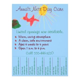 Child care flyer / day care flyer w/ tear off info