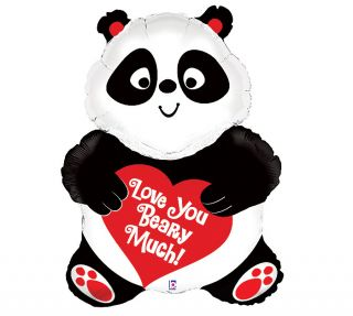 Black Red Panda Bear LOVE Valentines Day Birthday Party Balloon